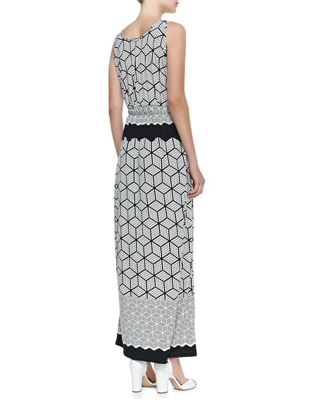 Print Lux-Jersey Long Caftan Dress