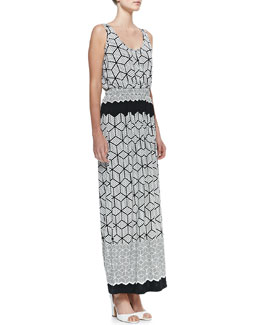 Melissa Masse Print Lux-Jersey Long Caftan Dress