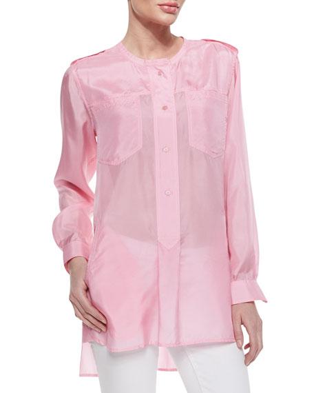 Long-Sleeve Washed Silk Tunic