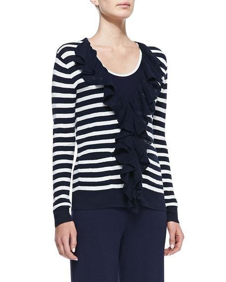 Striped Ruffle-Front Cardigan