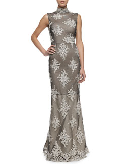 Alice + Olivia Felice Sleeveless Embroidered Gown