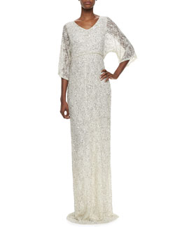 Alice + Olivia Cante Three-Quarter Sleeve Sequin Lace Gown