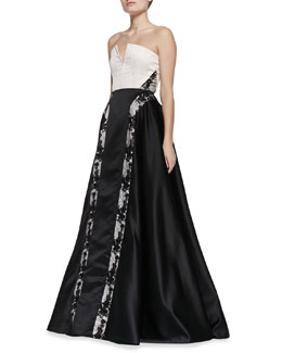 Alice + Olivia Dalya Embroidered-Stripe Ball Gown