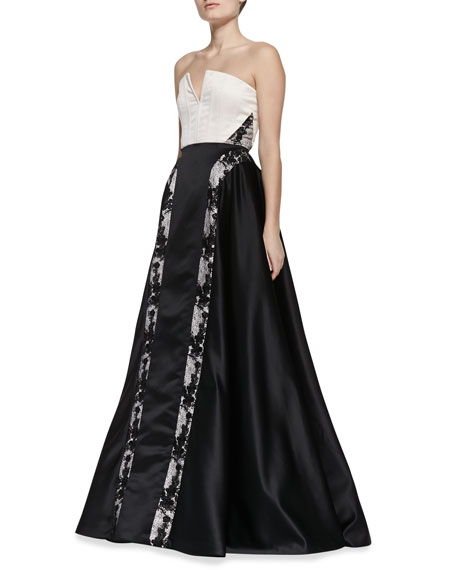 Dalya Embroidered-Stripe Ball Gown