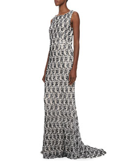 Alice + Olivia Saba Slim Embellished Gown