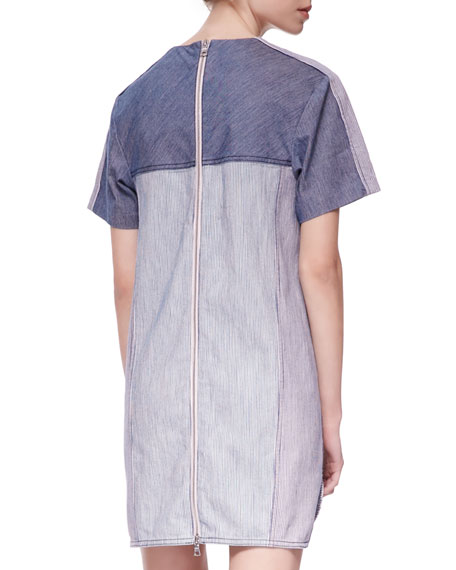 Railroad Two-Tone Denim Dress
