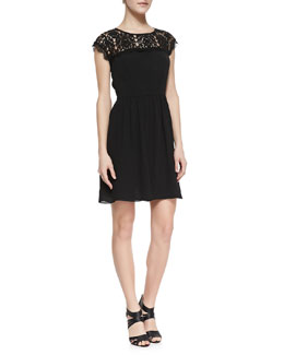 Rebecca Taylor Cap-Sleeve Lace-Yoke Dress