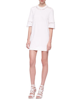 Rebecca Taylor Lace-Inset Sweatshirt-Knit Cotton Tunic Dress