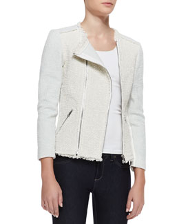 Rebecca Taylor Bicolor Tweed Combo Jacket