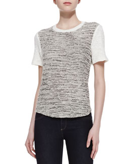 Rebecca Taylor Two-Tone Tweed Top
