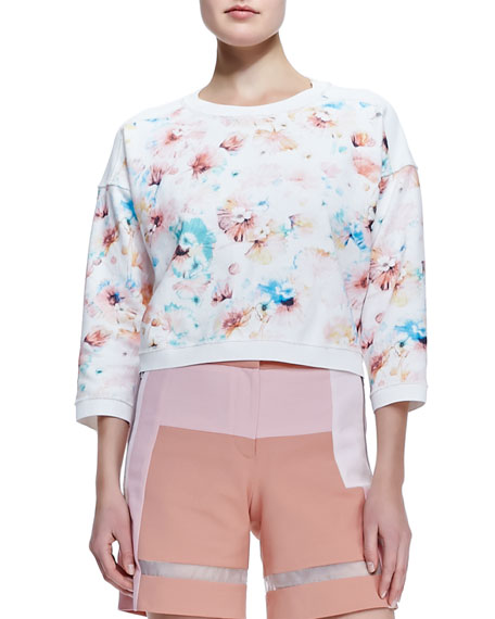 Poppy-Print Cropped Sweatshirt