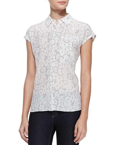 Rebecca Taylor Cap-Sleeve Lace-Print Top