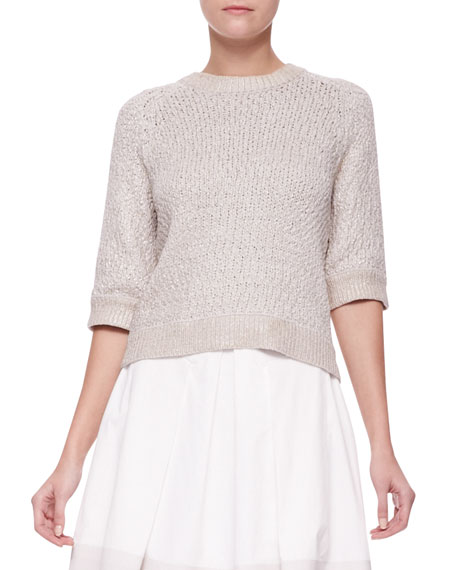 Foil Knit Keyhole Sweater