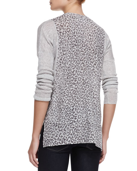 Leopard-Print Linen-Cotton Combo Sweater