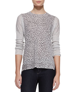 Rebecca Taylor Leopard-Print Linen-Cotton Combo Sweater