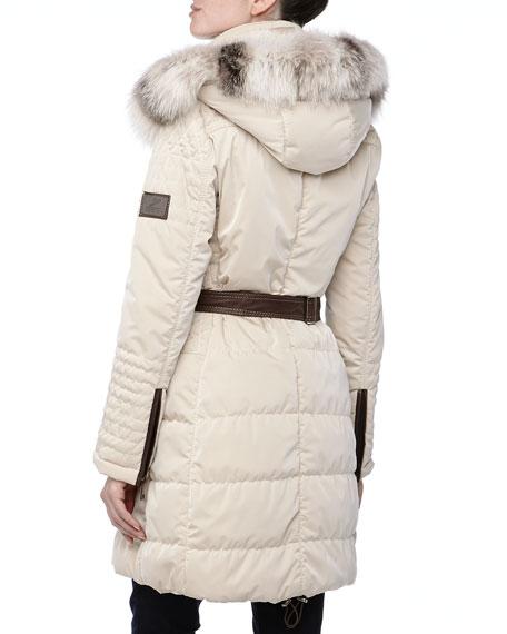 Belted Puffer w/Arctic Fur-Trim, Creme