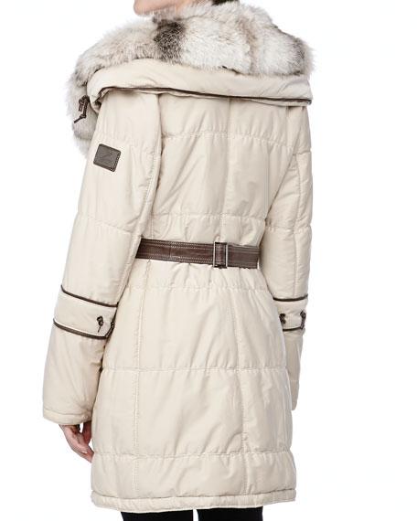 Long Belted Puffer Coat w/Fur Trim, Creme