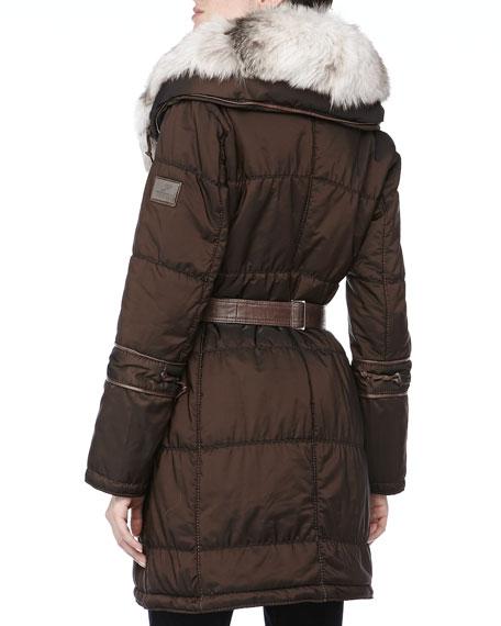 Long Belted Puffer Coat w/Fur Trim, Expresso