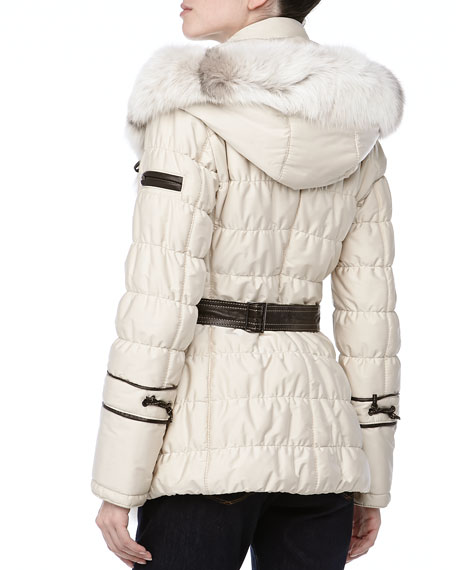 Short Quilted Belted Puffer Coat, Creme