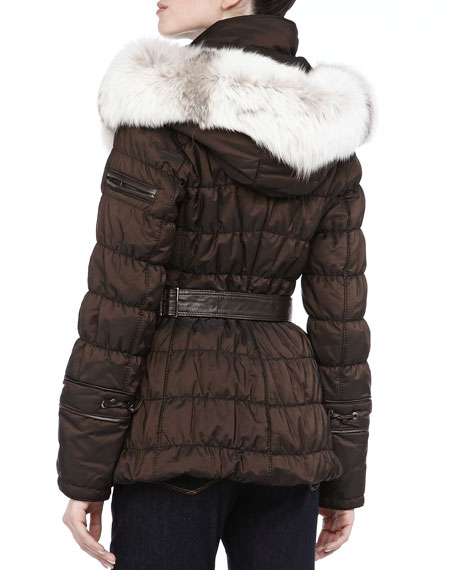 Short Quilted Belted Puffer Coat, Expresso