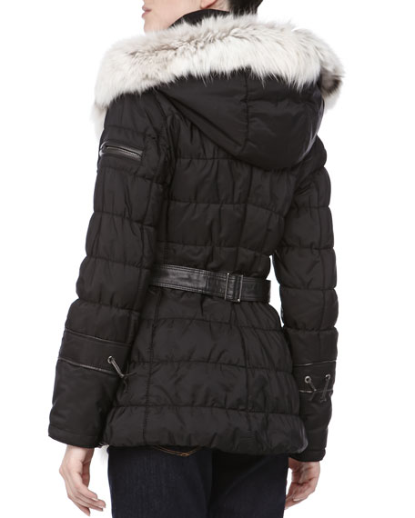 Short Quilted Belted Puffer Coat, Nero