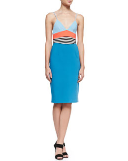 L'Agence Colorblock Spaghetti-Strap Sheath Dress, Seaport Blue