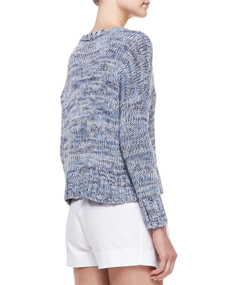 Cropped Marled Knit Pullover