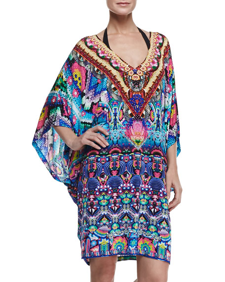 Batwing-Sleeve Printed Coverup Mini Dress