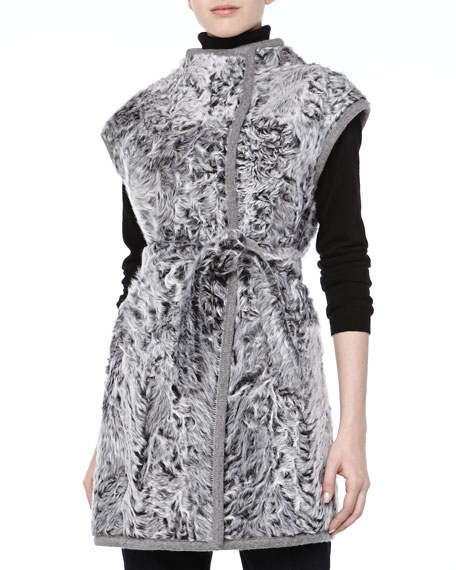 Long Reversible Lamb Vest, Light Gray
