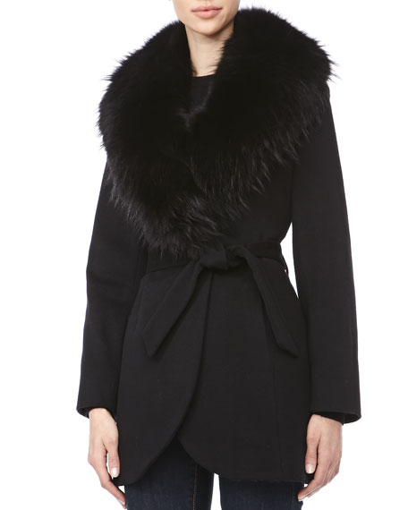 Wrap Jacket with Fur Shawl Collar