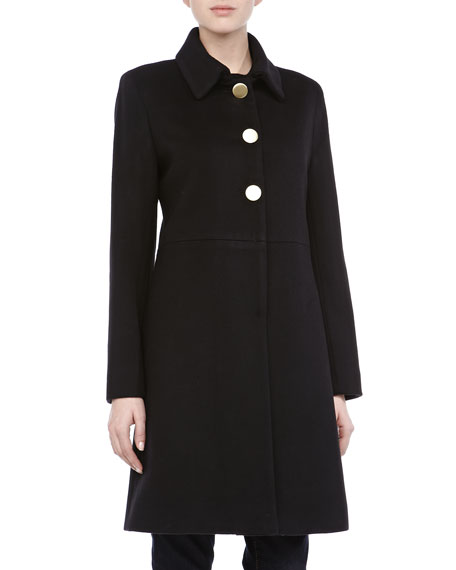 Modern Golden-Button Coat, Black
