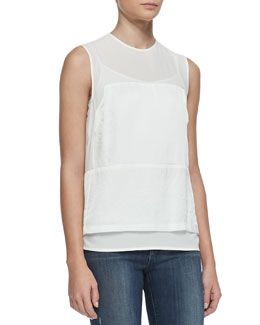 J Brand Ready to Wear Boylan Sheer-Yoke Top