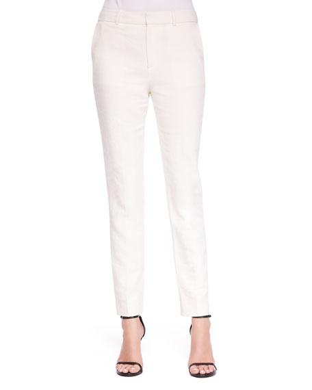 Jennie Paper-Cloth Straight-Leg Pants