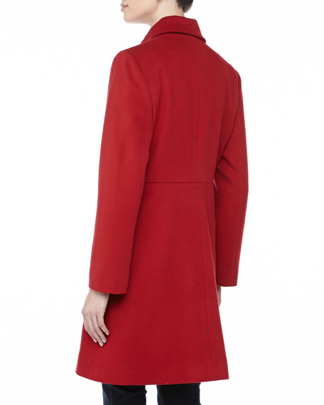 Modern Golden-Button Coat, Red