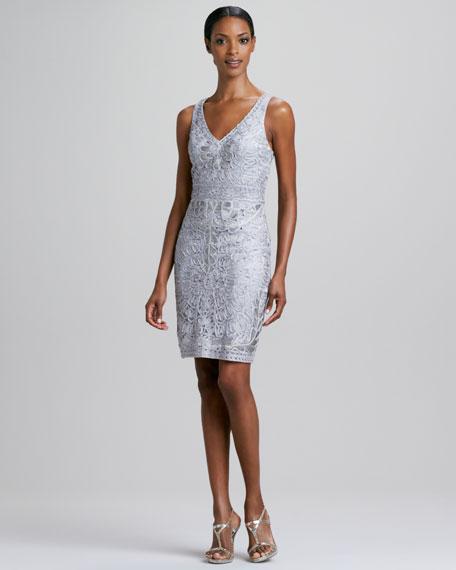 Sleeveless Soutache V-Neck Cocktail Dress