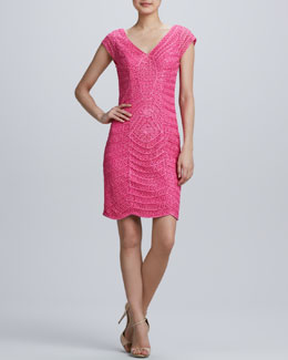 Sue Wong Cap-Sleeve Cocktail Dress with Soutache Overlay