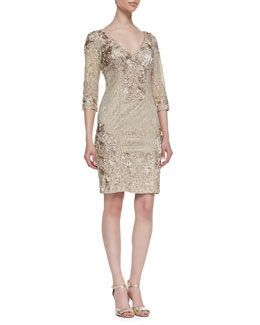 Sue Wong Embroidered Lace 3/4-Sleeve Dress