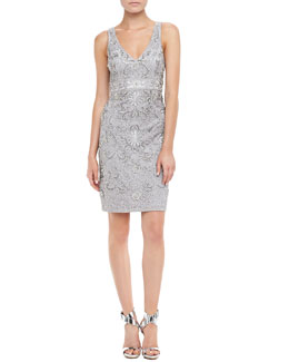 Sue Wong Sleeveless Beaded Cocktail Dress