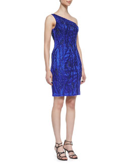 Sue Wong One-Shoulder Beaded Dress