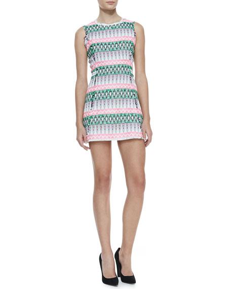 Raw-Edge-Trim Tweed Dress
