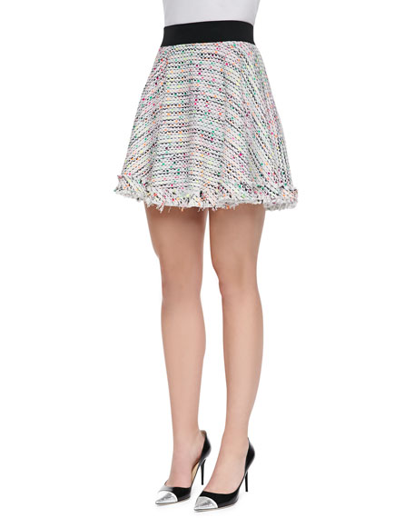 Flared Neon Tweed Miniskirt