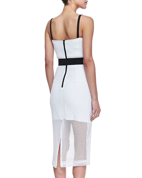 Bustier Dress with Mesh Overlay, White/Black