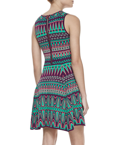 Bright Jacquard Fit-and-Flare Dress