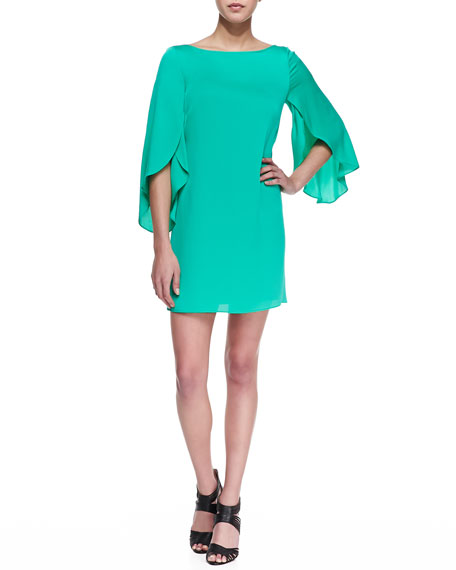 Butterfly-Sleeve Short Shift Dress, Jade