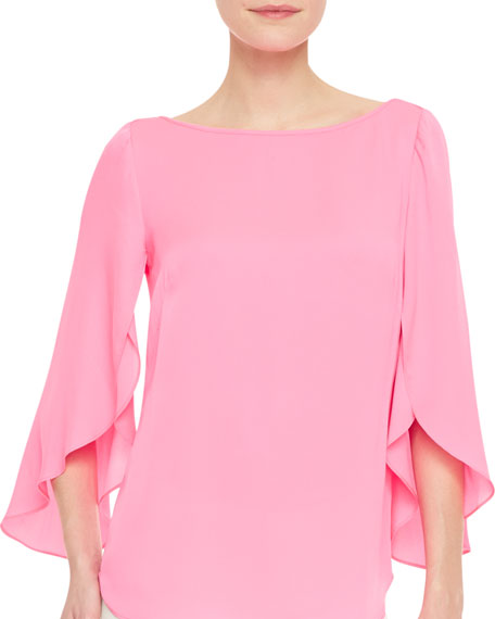 Milly Butterfly-Sleeve Stretch-Silk Top