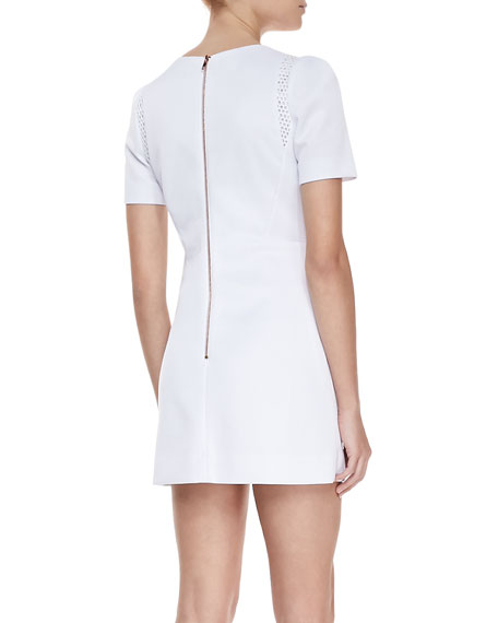 Short Sleeved Shift Dress, White