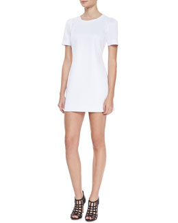 Milly Short Sleeved Shift Dress, White