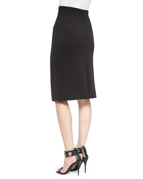 High-Waist Pencil Skirt, Black