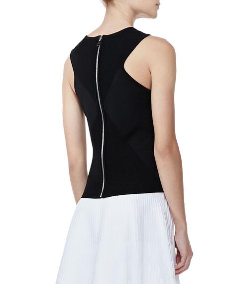 Ribbed Knit Diamond Shell, Black