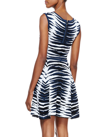 Ikat-Jacquard Flared Dress